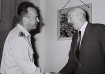 FORMER FRENCH defense minister General Pierre Koenig (right) visits chief of staff Yitzhak Rabin in