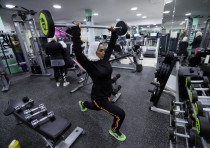 Saudi Rehab Al Mahasnha works out at a local gym in Qatif, Saudi Arabia, April 21, 2018