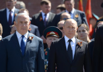 Prime Minister Benjamin Netanyahu and Russian President Vladimir Putin at the Victory Day parade in