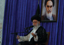 IRANIAN SUPREME Leader Ayatollah Ali Khamenei delivers a speech during a ceremony marking the death