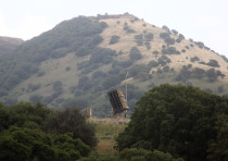 An Iron Dome battery deployed in the north of Israel following concerns of airstrikes from Syria