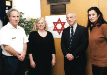 A ceremony for unveiling the plaque for Ephraim Charlaff in 2002: (from left) Yonatan Yagodovsky, di