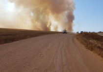 Smoke is seen near the Gaza border.