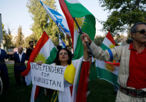 Israelis from Kurdish origin take part in a rally in support of the Kurdish referendum outside the A
