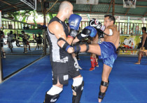 AVISHAY LUXEMBURG and a friend train at Phuket's Tiger Muay Thai gym in 2010.