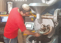 Roasting coffee beans at the Power Coffeeworks in Jerusalem