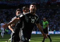 Argentina's Sergio Aguero celebrates scoring the side's first goal in a World Cup match