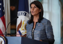 US Ambassador to the United Nations Nikki Haley delivers remarks to the press