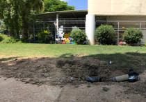 A rocket fired from Gaza dug up next to a kindergarten in the Eshkol regional councii, June 20th, 20