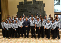 President Reuven Rivlin (C/L) and Police commisioner Roni Alsheich (C/R) meets with Arab members of