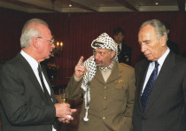 YITZHAK RABIN, Yasser Arafat and Shimon Peres in the movie 'The Oslo Diaries,' about the attempt to