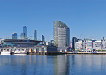 A view of the Melbourne Docklands and the city skyline from Waterfront City, looking across Victoria