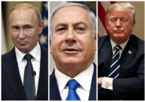 Putin (L), Netanyahu (C) and Trump (R)