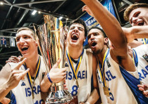 ISRAELI PLAYERS celebrate withtrophyfollowing victory over Croatia in final2018 FIBA, Germany, 2018