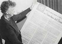 Then-US delegate to the United Nations General Assembly Eleanor Roosevelt holds the UN Universal Dec