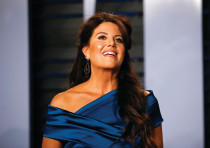 MONICA LEWINSKY arrives at a Vanity Fair Oscar party in Beverly Hills last March.