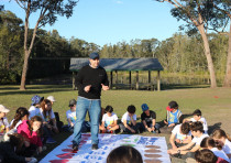 Children on winter camp in Australia play a game about Israel with KKL-JNF's Educational Caravan
