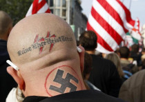 A neo Nazi attends a rally in Budapest October 23, 2009