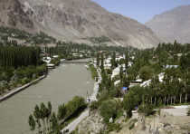 A general view shows the town of Khorog, Tajikistan