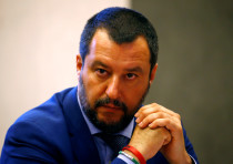 Italy's Interior Minister Matteo Salvini looks on during a news conference in Rome, Italy, on June 2