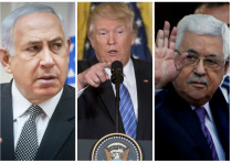 Benjamin Netanyahu (L), Donald Trump (C) and Mahmoud Abbas (R)