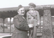 Louis and David Geffen at the railroad station in Portsmouth, Virginia, in 1944
