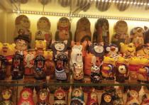 A store in Moscow's Arbat pedestrian mall displays traditional Russian babushka dolls.