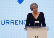 Britain's Prime Minister Theresa May speaks at the United Jewish Israel Appeal charity dinner in Lon