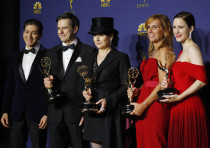 70th Primetime Emmy Awards; The cast poses backstage with their Outstanding Comedy Series award