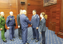 ISRAEL AIR FORCE Commander Maj.-Gen. Amikam Norkin (second right) meets with senior Russian official