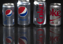 Cans of Diet Coke and Diet Pepsi.