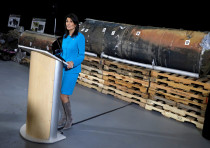 US Ambassador to the UN Nikki Haley briefs the media in front of remains of an Iranian 'Qiam' ballis
