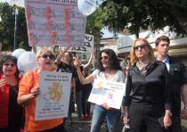 Opposition leader Tzipi Livni attends a protest against violence against women, Tel Aviv, October 18