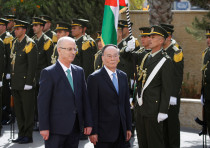 Chinese Vice President Wang Qishan and Palestinian PM Rami Hamdallah, reception ceremony in Ramallah