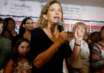 U.S. Representative Debbie Wasserman Schultz introduces U.S. Democratic presidential nominee.