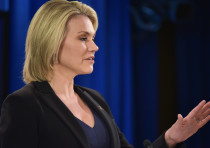 State Department Spokesperson Heather Nauert speaks during a briefing at the State Department