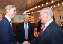 Prime Minister Benjamin Netanyahu meets with US envoy Brian Hook and US Ambassador David Friedman