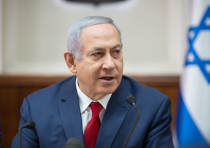 Prime Minister Benjamin Netanyahu at a weekly cabinet meeting, November 18, 2018
