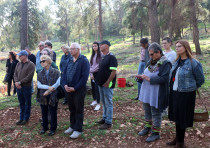 Participants memorialize the Pittsburgh shooting victims in the Rosh Pina forest