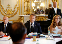 French President Emmanuel Macron, Interior Minister Gerard Collomb, Justice Minister Nicole Belloube