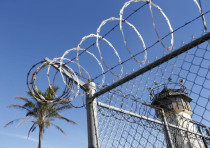 A guard tower is seen during a media tour of California's Death Row at San Quentin State Prison in S