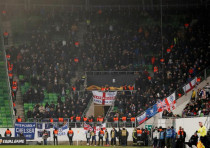 Chelsea fans at a game between Vidi FC and Chelsea, December 13, 2018