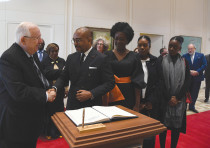 PRESIDENT REUVEN RIVLIN greets Ivory Coast Ambassador Vhangha Patrice Koffi.