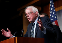 Senator Bernie Sanders (I-VT) speaks after the senate voted on a resolution ending U.S. military sup