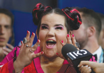 NETTA ATTENDS the news conference after winning the Eurovision Song Contest 2018 in Lisbon, Portugal