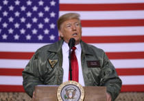 U.S. President Donald Trump delivers remarks to U.S. troops in an unannounced visit to Al Asad Air B