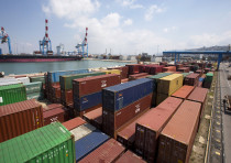 Containers are seen in this general view of the port of the northern city of Haifa April 23, 2013.