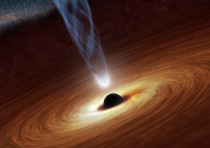 A supermassive black hole in an undated NASA artist's concept illustration.