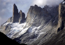 Landscape of the Torres del Paine national park in the southern Patagonia region of Chile