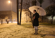 Snowfall in a park in Jerusalem